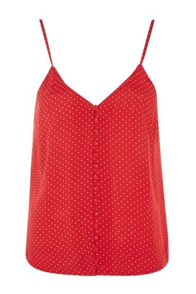 Womens Pinspot Button Camisole - Red, Red
