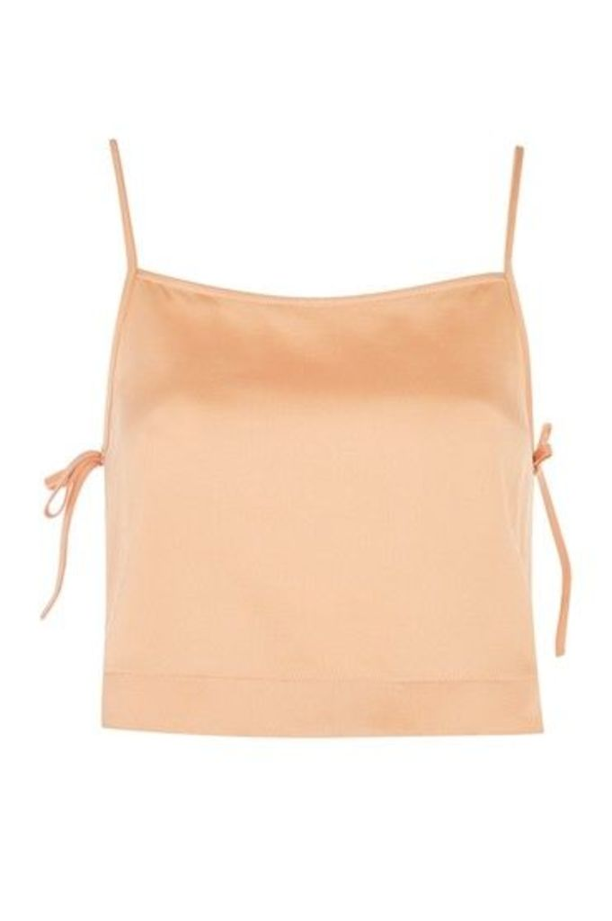 Womens Tie Side Crop Camisole Top - Apricot, Apricot