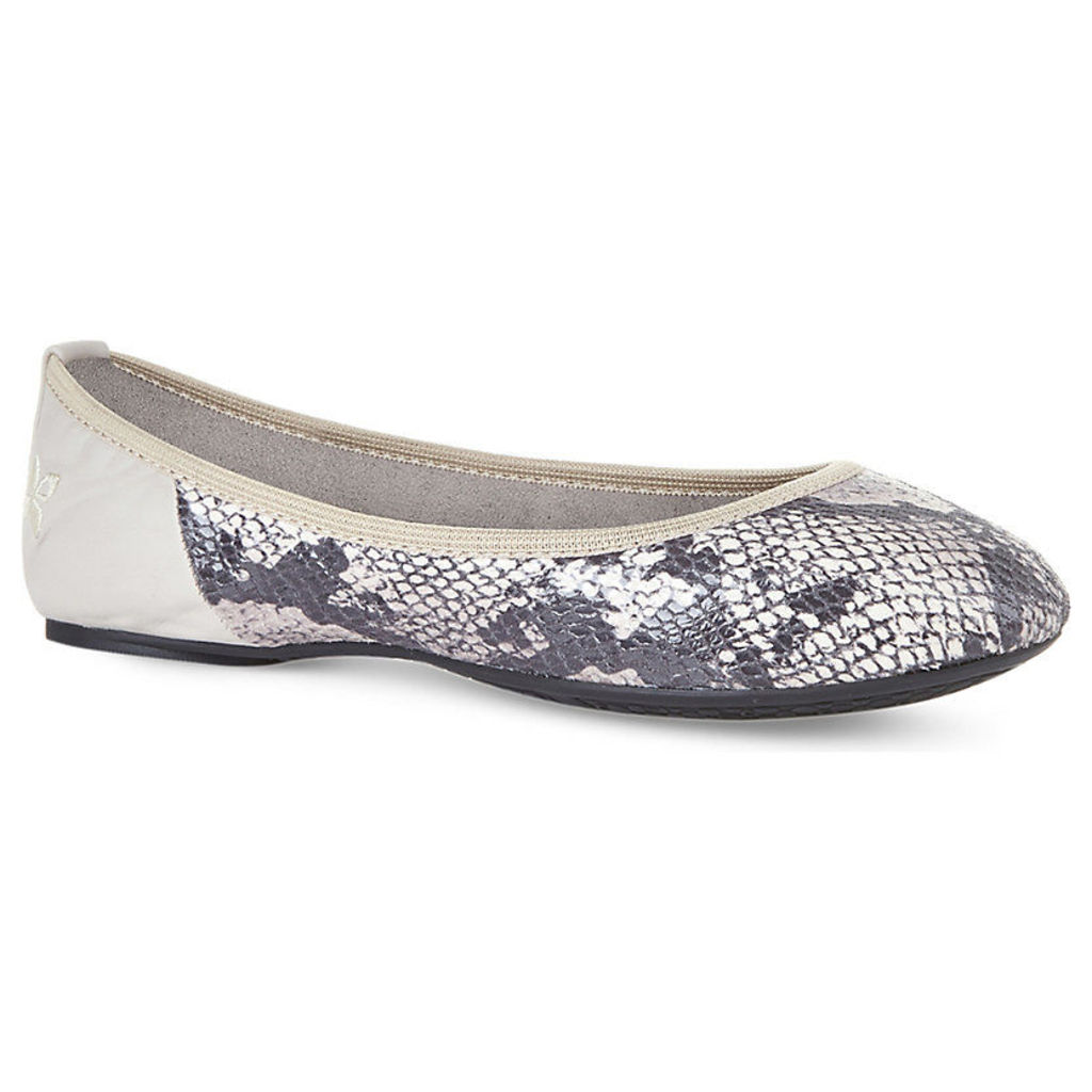 Vivienne foldable snakeskin-effect ballet pumps
