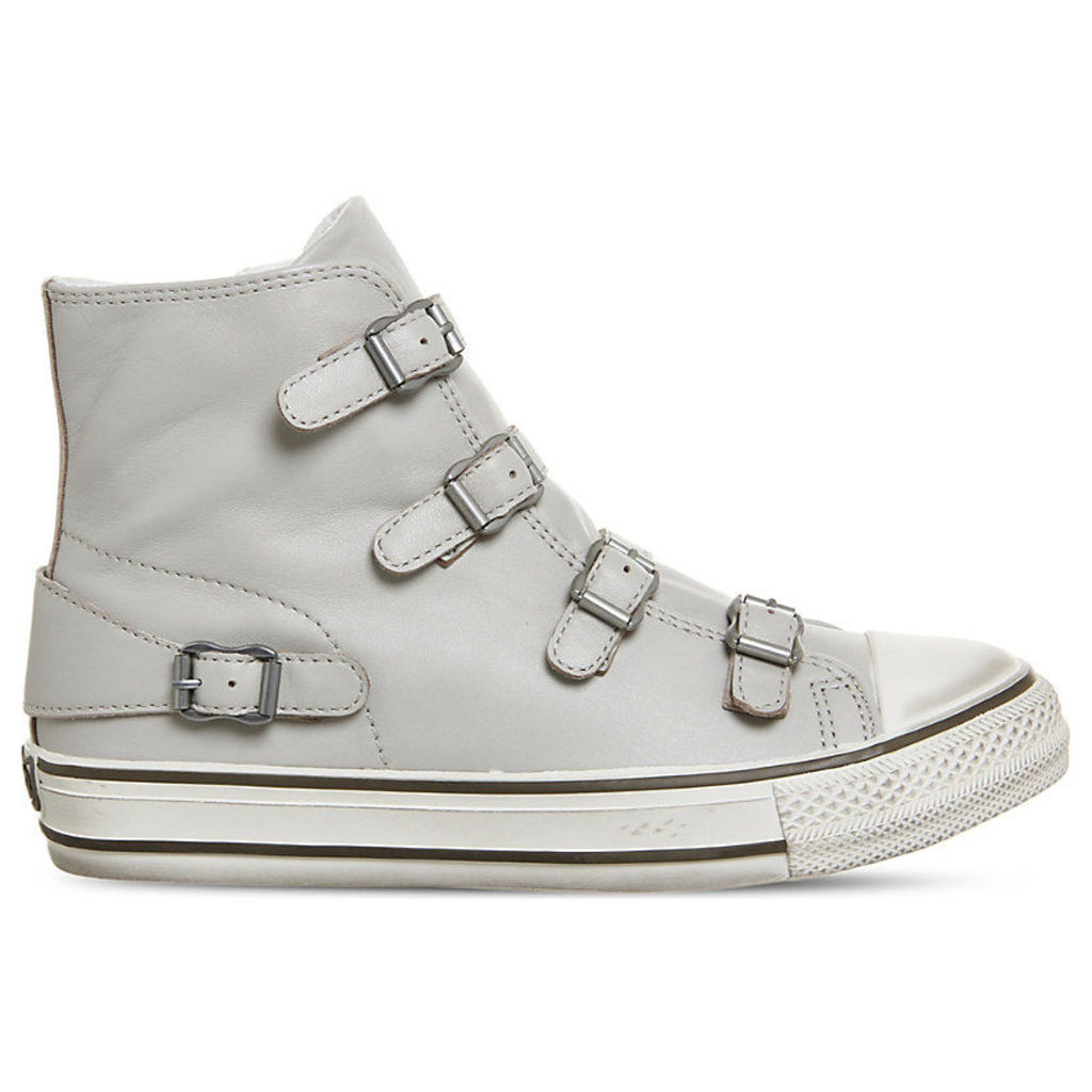 Virgin high-top leather trainers