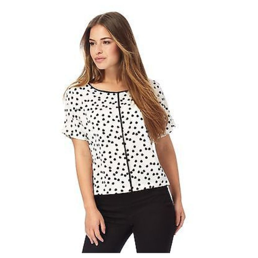 The Collection Petite Womens Ivory Spot Print Petite Top From Debenhams