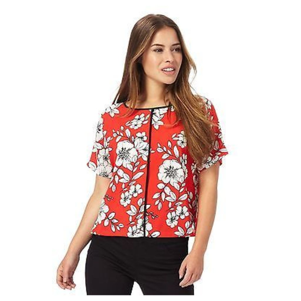 The Collection Petite Womens Red Floral Print Petite Top From Debenhams