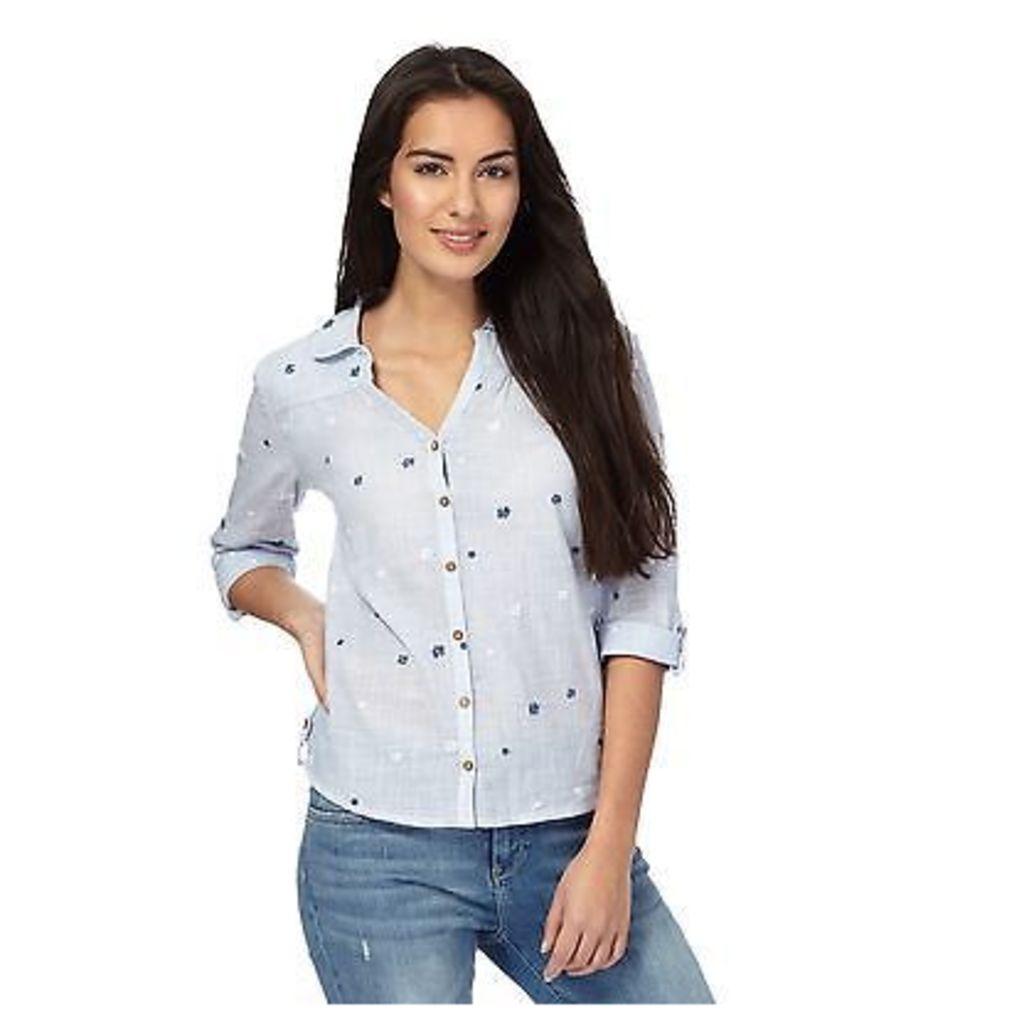 Mantaray Womens Light Blue Textured Embroidered Flower Shirt From Debenhams