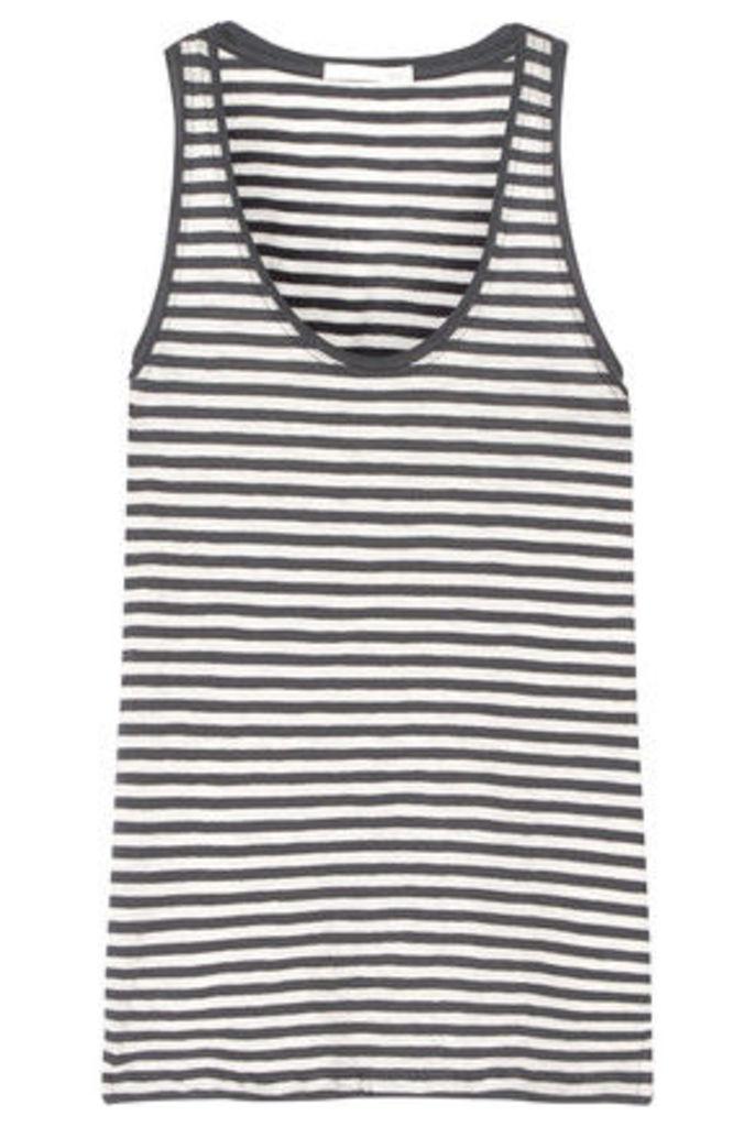 Skin - Kathie Striped Cotton-jersey Pajama Top - Anthracite