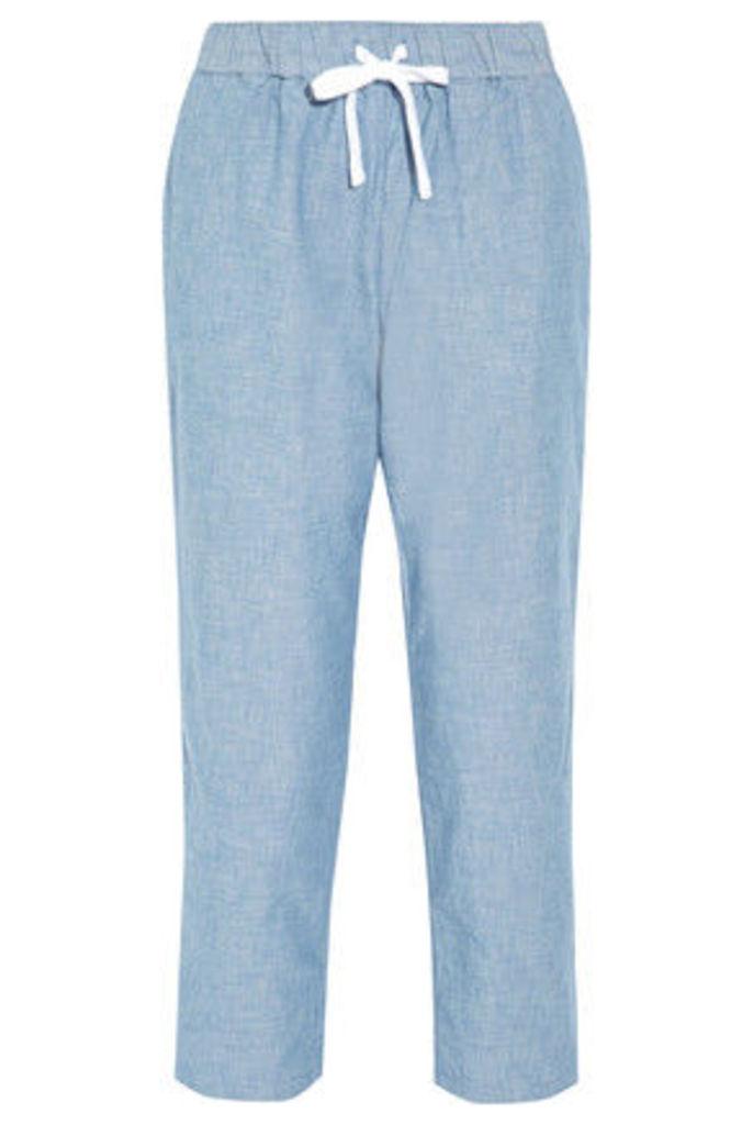 Sleepy Jones - Hannah Cotton-chambray Pajama Pants - Mid denim