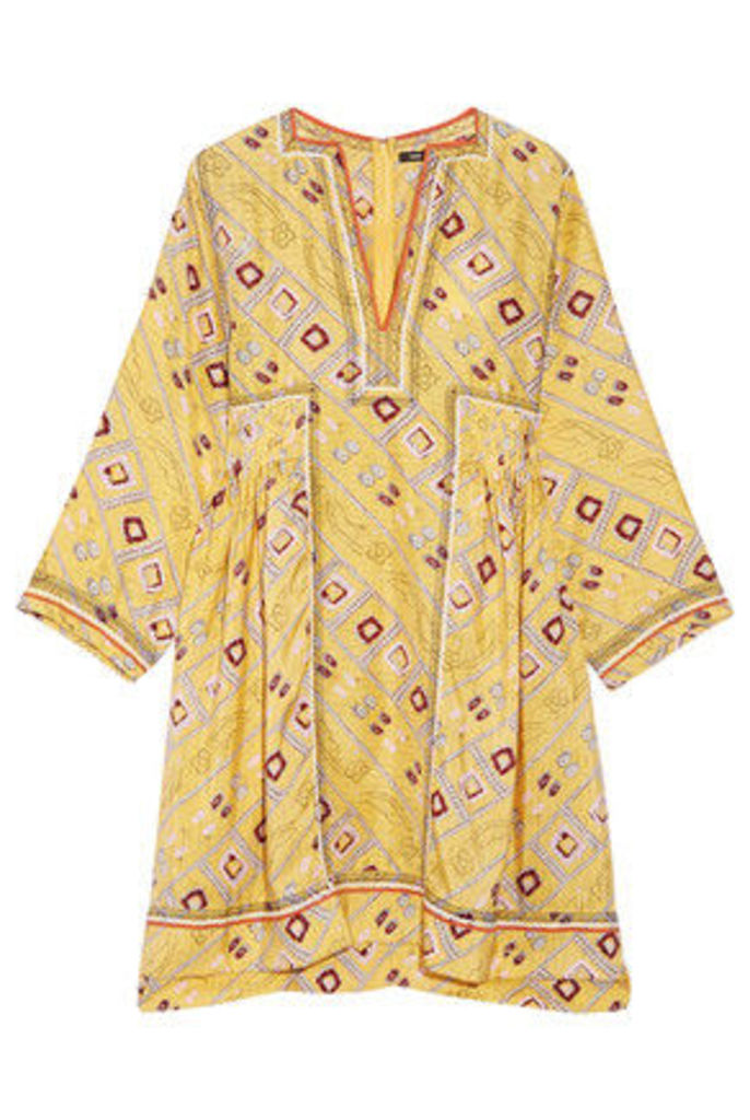 Isabel Marant - Thurman Embroidered Printed Silk Dress - Pastel yellow