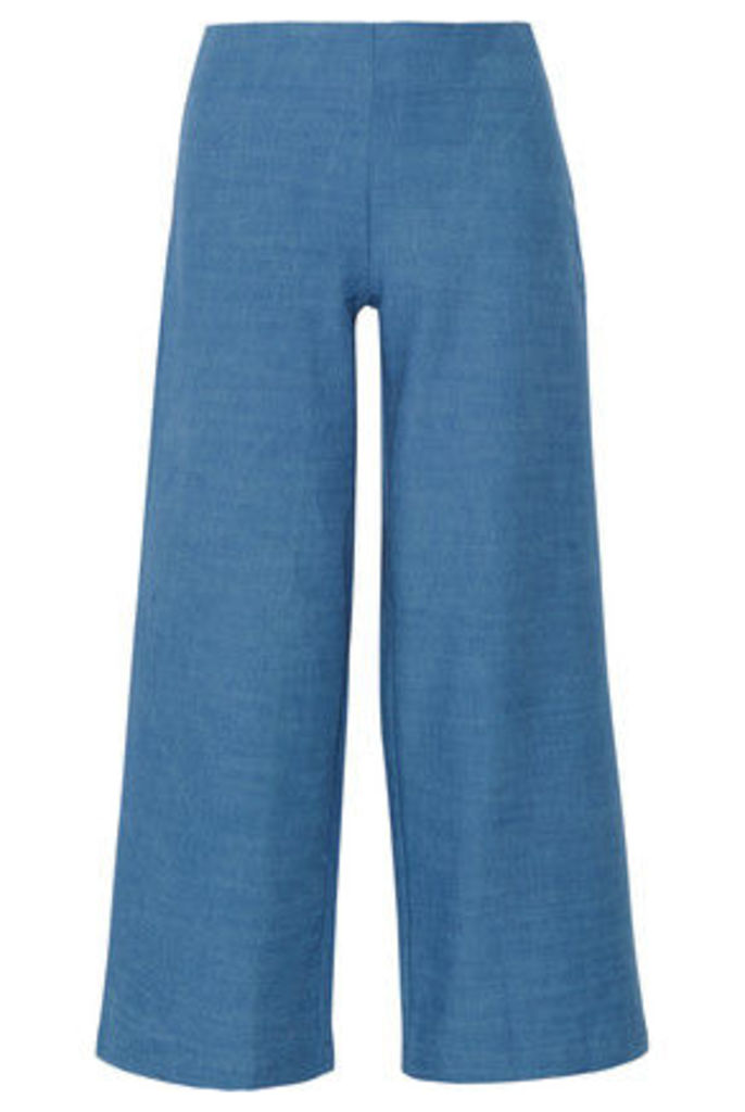Solid and Striped - The Side Zip Cotton-chambray Flared Pants - Mid denim