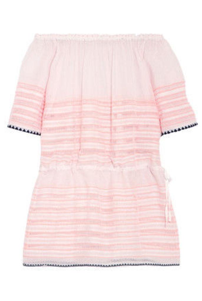 LemLem - Nadia Off-the-shoulder Striped Cotton-blend Gauze Mini Dress - Peach