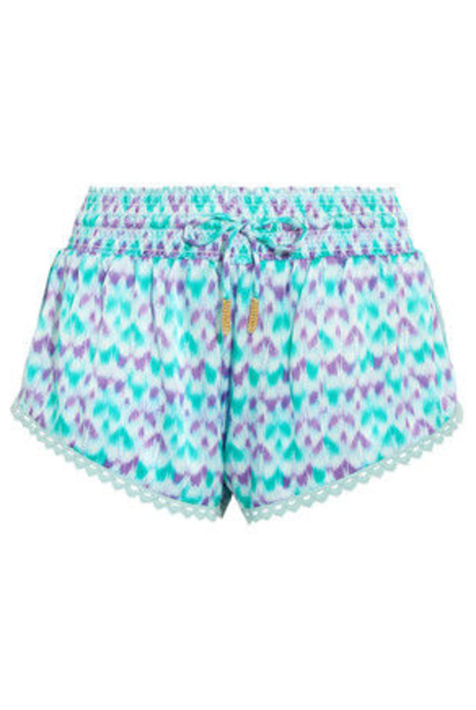 Paloma Blue - Paloma Crochet-trimmed Printed Silk-satin Shorts - Turquoise
