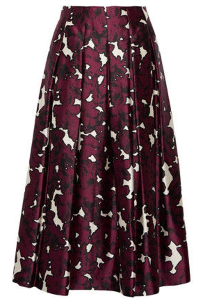 Oscar de la Renta - Floral-print Pleated Silk-satin Skirt - Claret