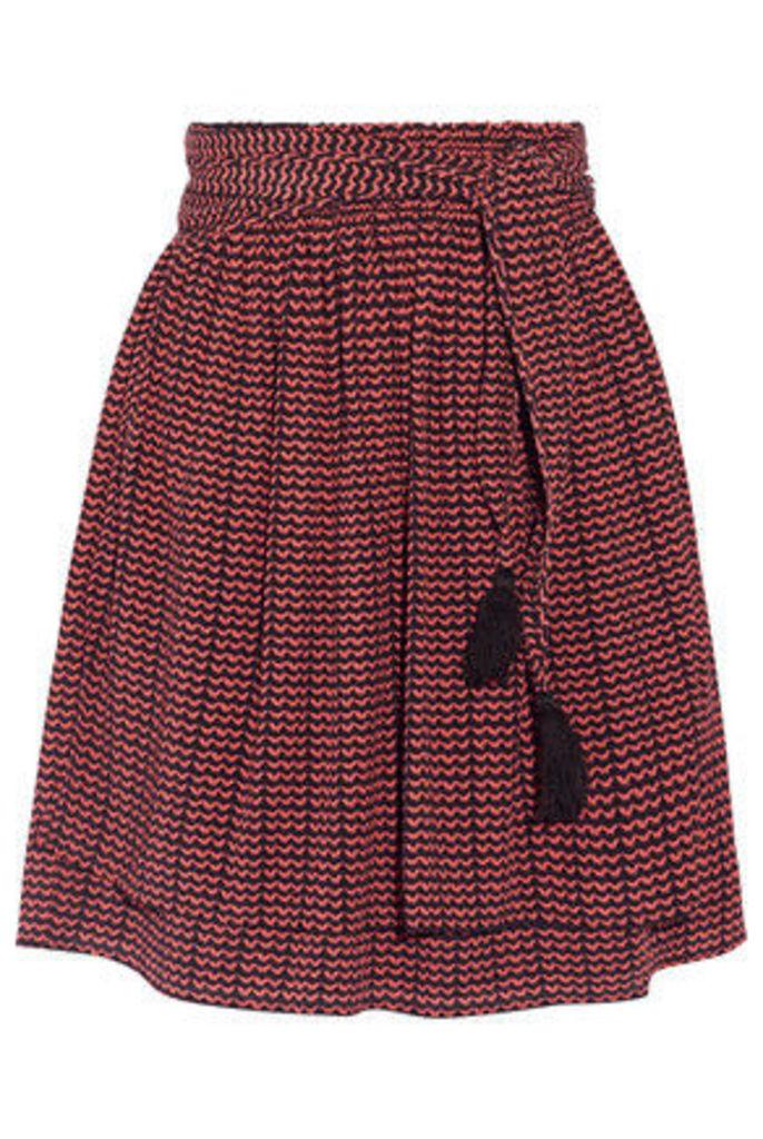 APIECE APART - Baja Printed Pleated Silk-crepon Mini Skirt - Burgundy