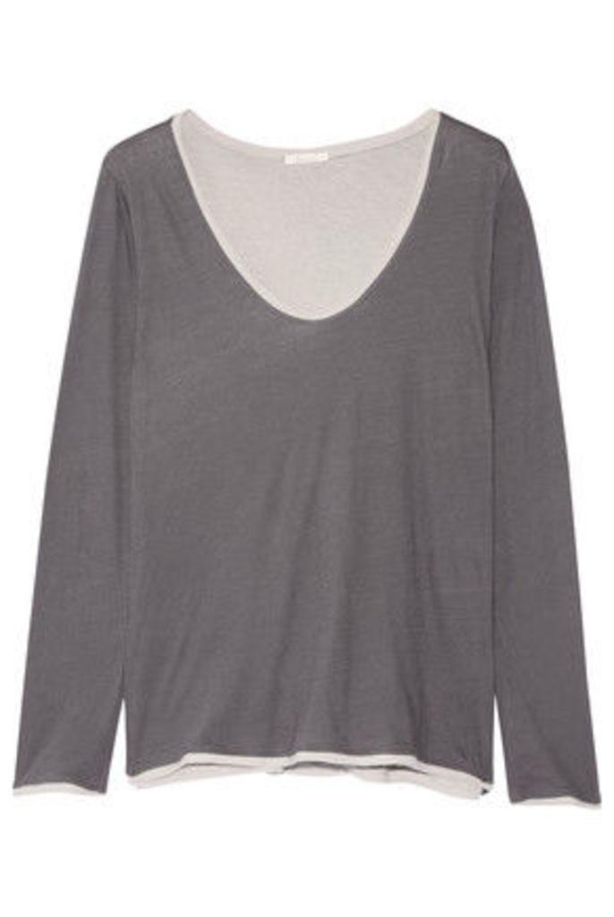 Skin - Layered Pima Cotton Pajama Top - Dark gray
