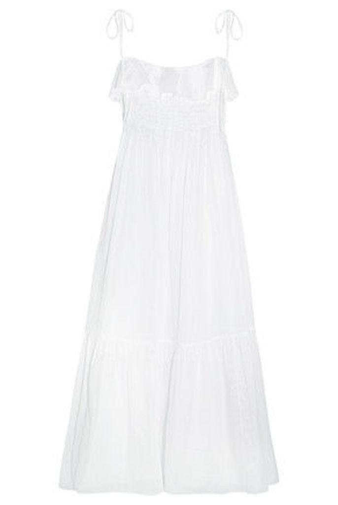 Three Graces London - Tybalt Ruffled Cotton-mousseline Maxi Dress - White