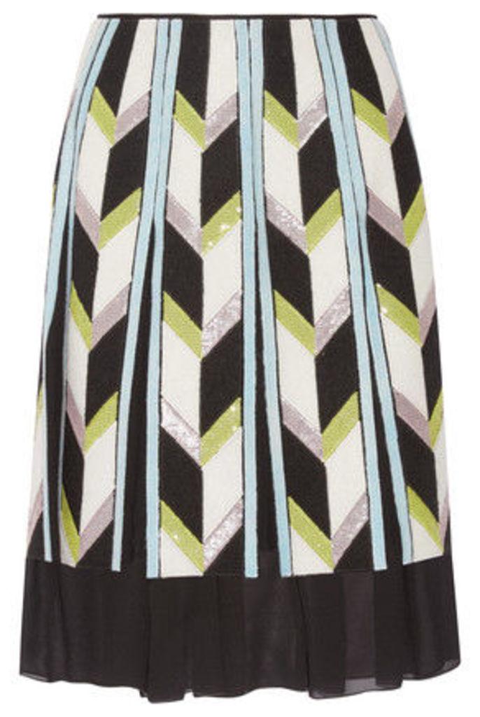 Emilio Pucci - Embellished Felt-appliquéd Silk Chiffon Skirt - White