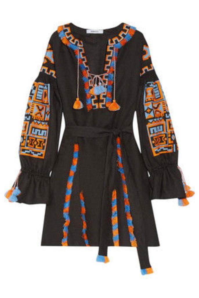 MARCH11 - Sahara Fringed Embroidered Linen Mini Dress - Black