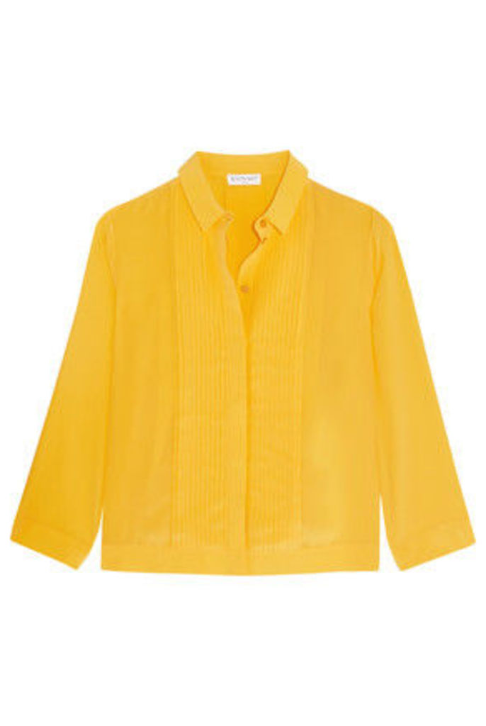 Vionnet - Plissé-paneled Silk Crepe De Chine Shirt - Yellow