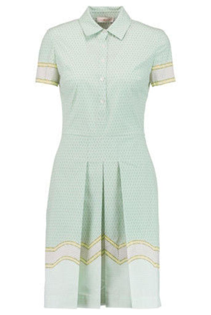 Tory Burch - Emmy Printed Pleated Stretch Cotton-poplin Dress - Mint