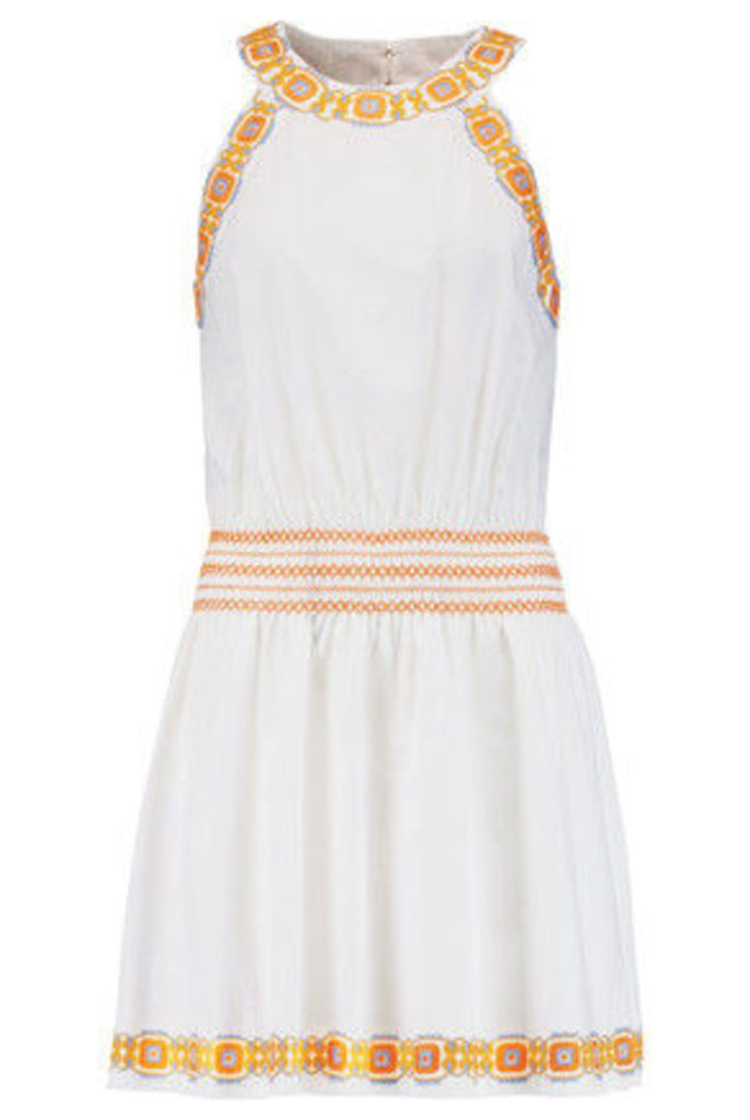 Tory Burch - Bridget Embroidered Striped Cotton Mini Dress - White