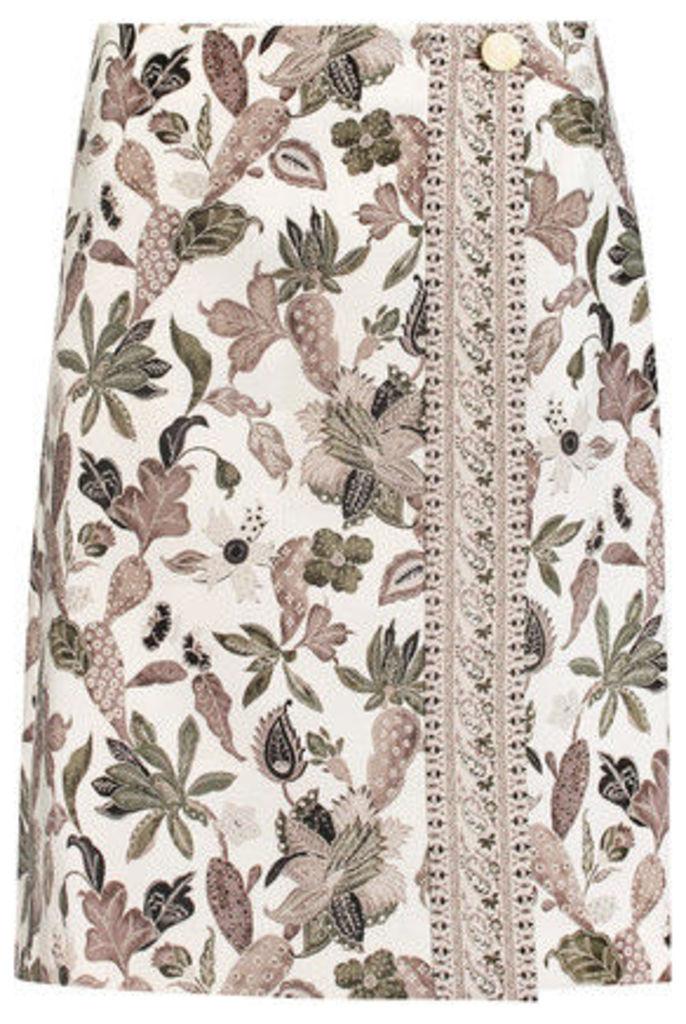 Tory Burch - Wrap-effect Printed Wool-blend Mikado Skirt - Multi