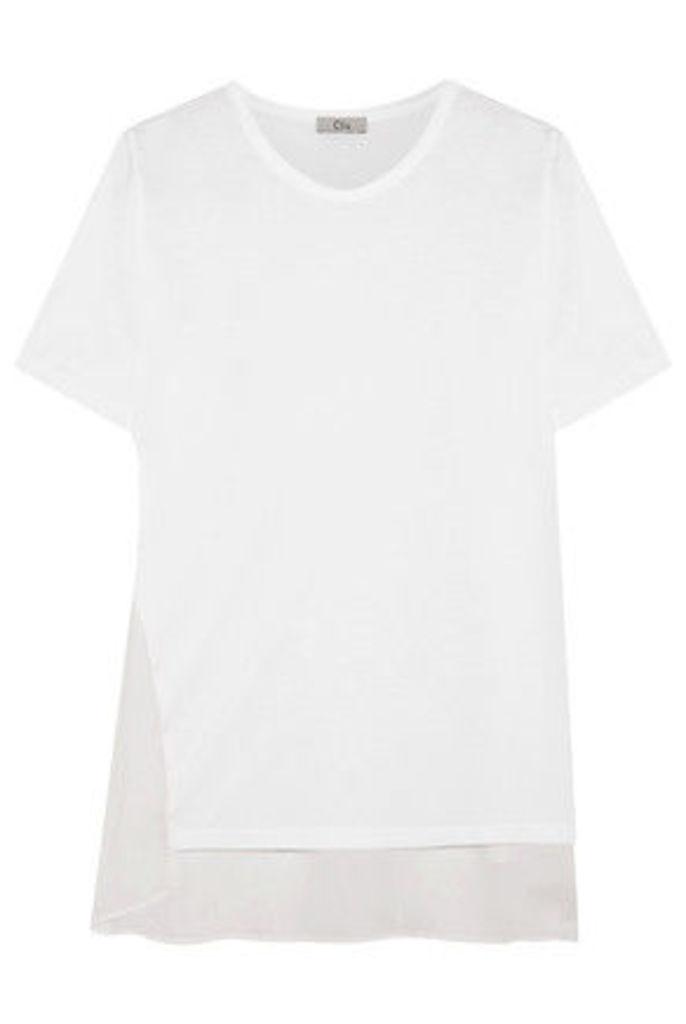 CLU - Silk-paneled Cotton And Modal-blend Jersey T-shirt - White