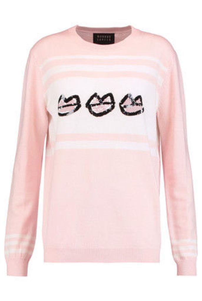 Markus Lupfer - Sequined Merino Wool Sweater - Blush