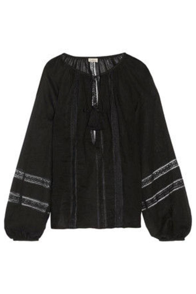 Talitha - Lace-trimmed Cotton-voile Blouse - Black