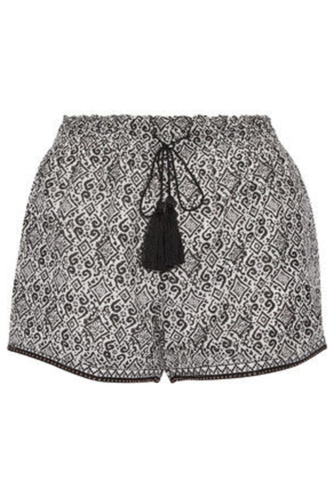 Talitha - Printed Silk And Cotton-blend Shorts - Black
