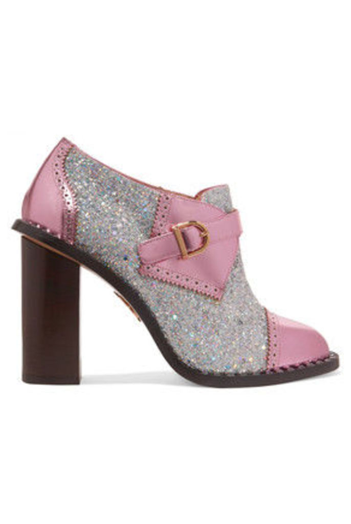 Charlotte Olympia - Poirot Metallic Glittered-finished Leather Ankle Boots - Pink