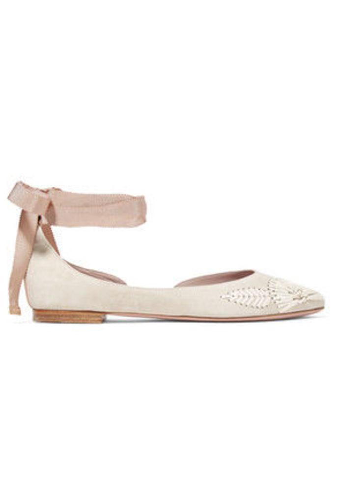 AERIN - Embroidered Suede Ballet Flats - Beige