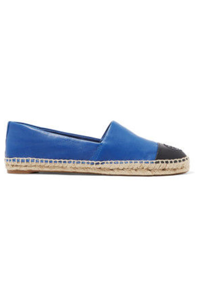 Tory Burch - Two-tone Leather Espadrilles - Cobalt blue