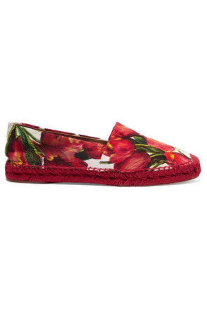 Dolce & Gabbana - Floral-brocade Espadrilles - Red