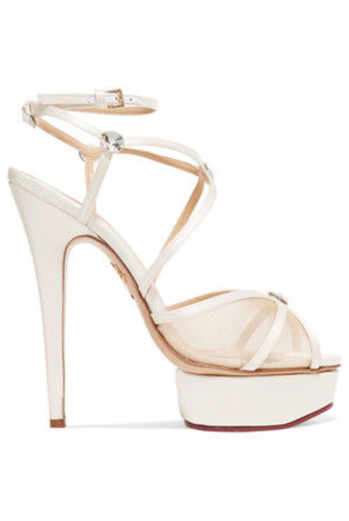 Charlotte Olympia - Isadora Embellished Satin And Mesh Sandals - White