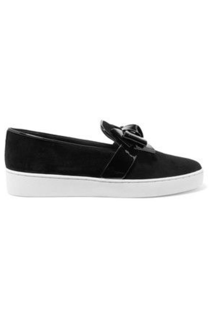 Michael Kors Collection - Val Bow-embellished Suede Sneakers - Black