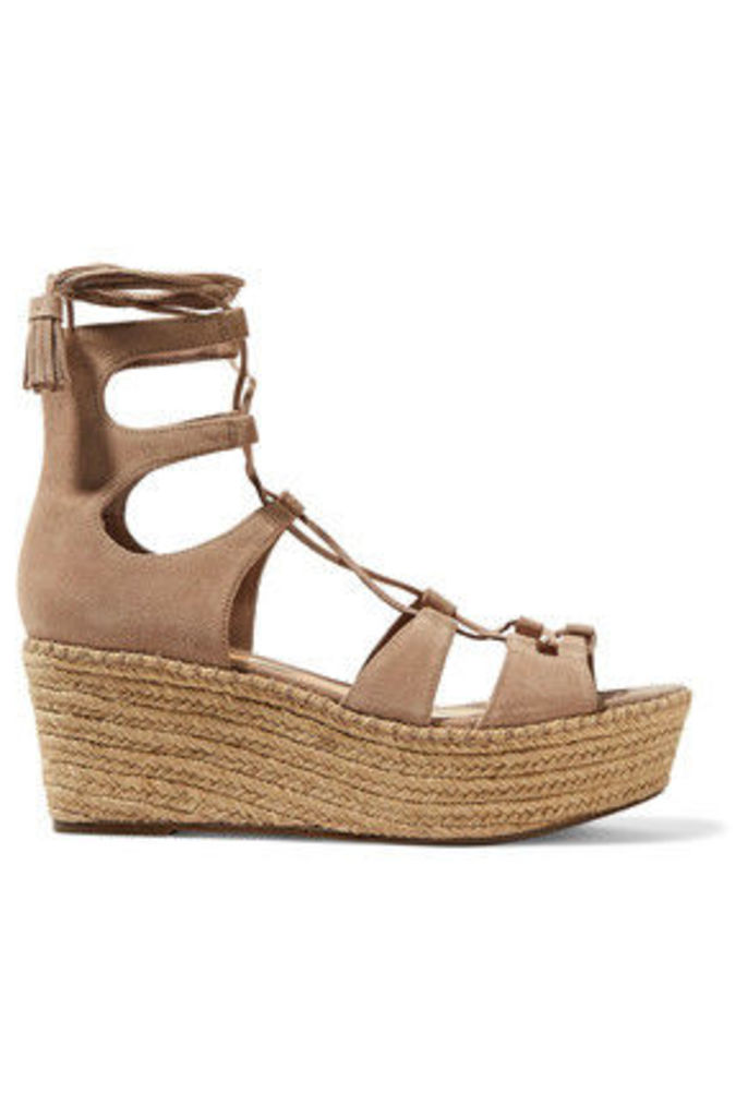Schutz - Hudson Lace-up Suede Wedge Sandals - Taupe