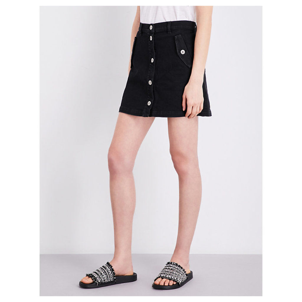 Button-up high-rise stretch-denim skirt
