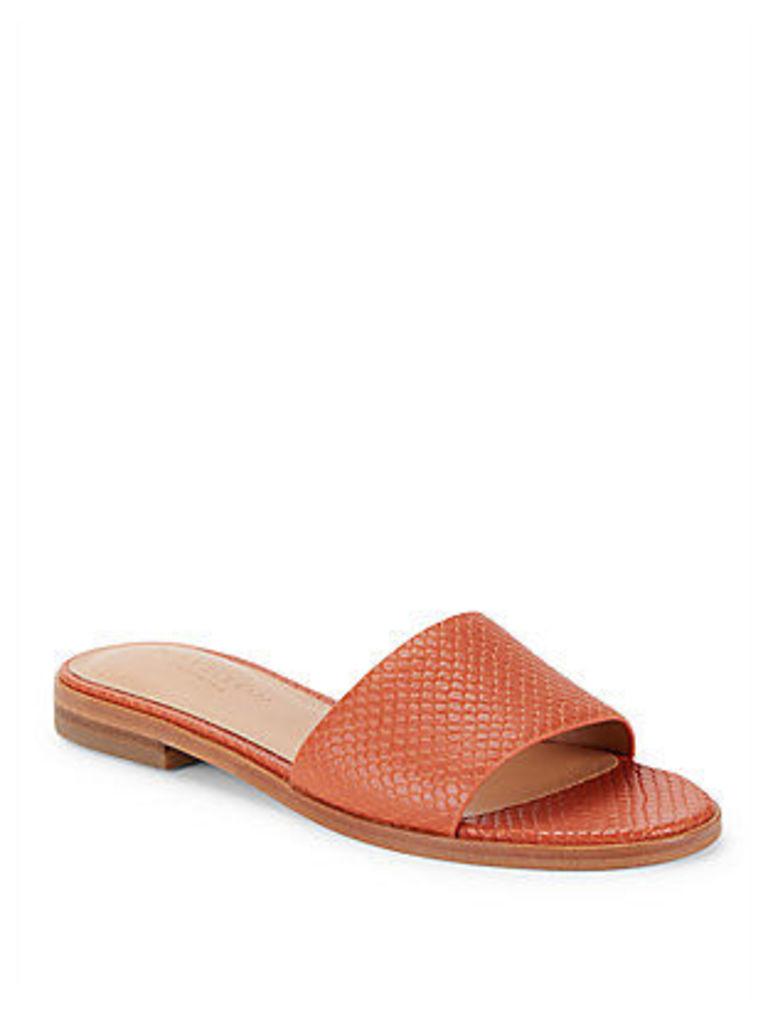 Textured Leather Slide Sandals