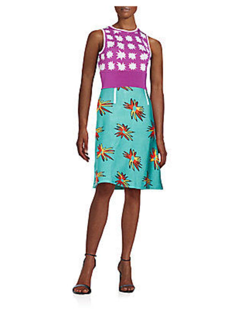 Elodie Mixed-Pattern Knit Dress