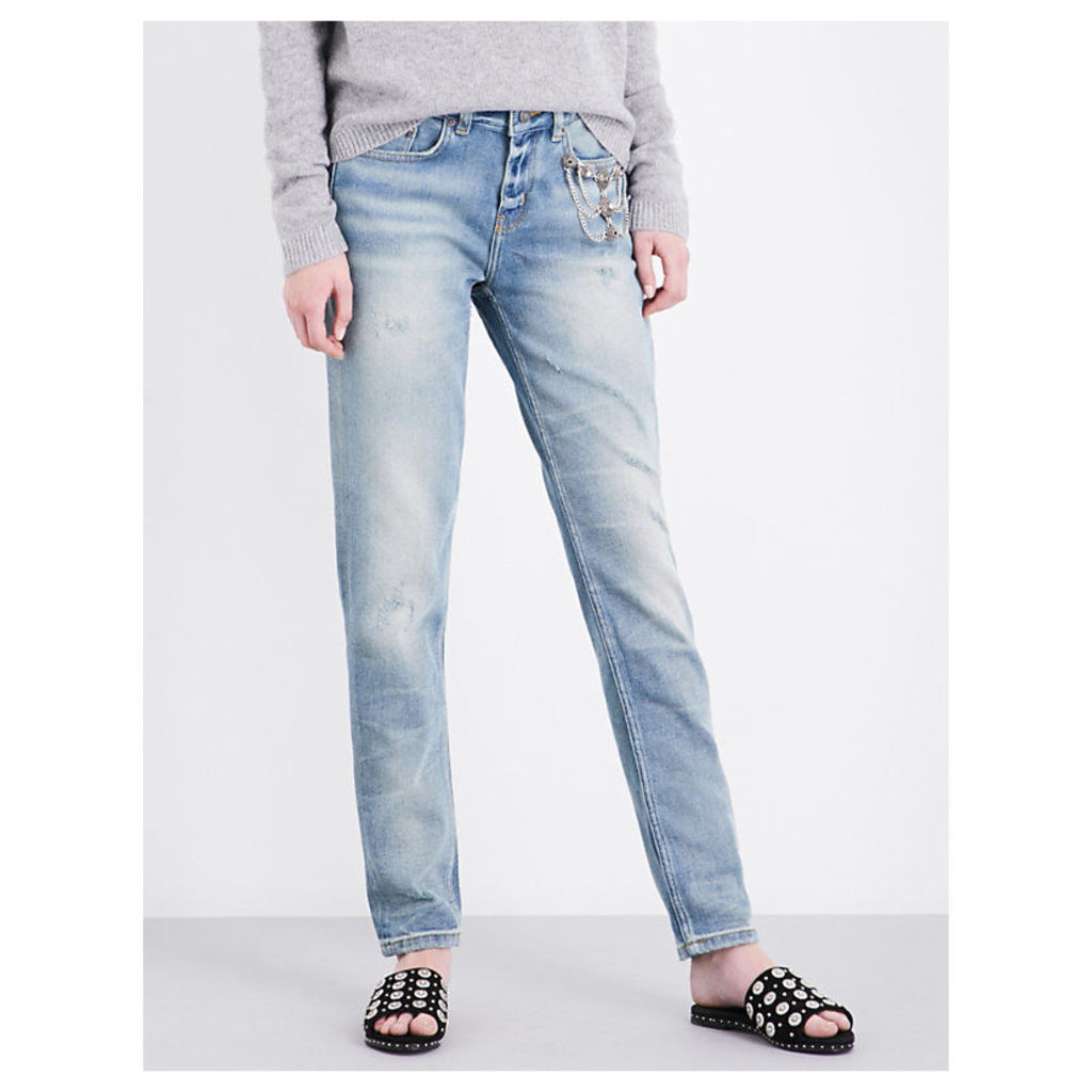 Willy distressed skinny-fit mid-rise stretch-denim jeans