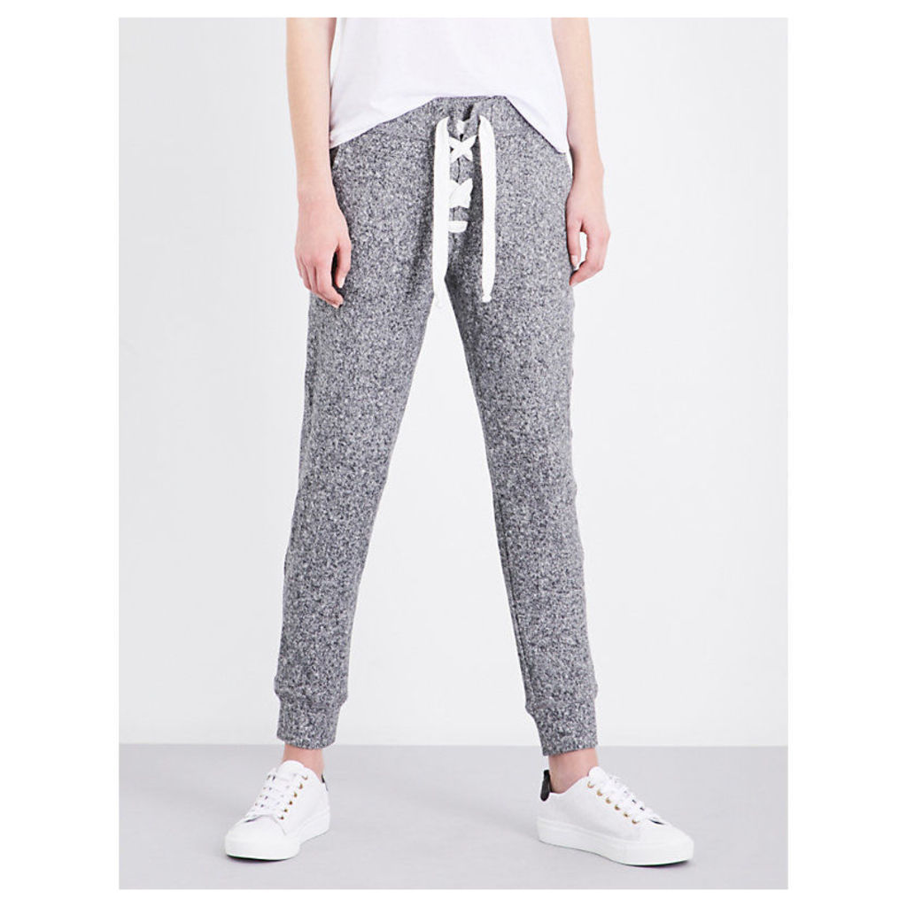 Lace-up tapered mid-rise stretch-jersey jogging bottoms