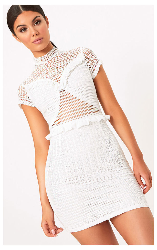 Besie White Lace High Neck Ruffle Detail Bodycon Dress