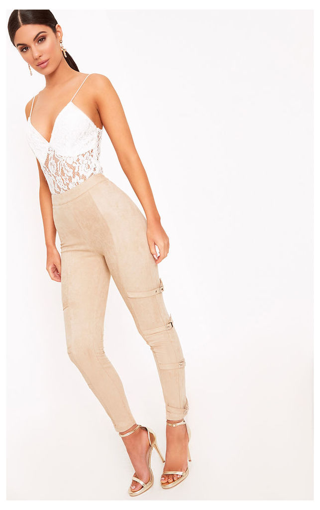 Avi Stone Faux Suede Buckle Trousers