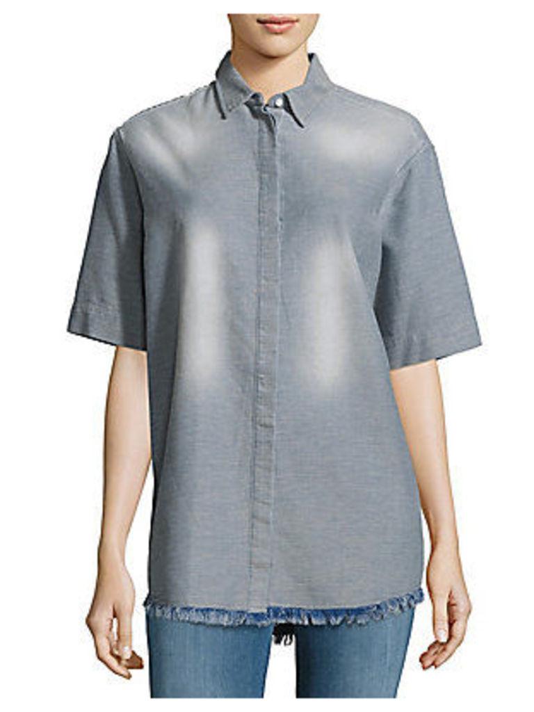 Mindy Textured Fringed Shirt
