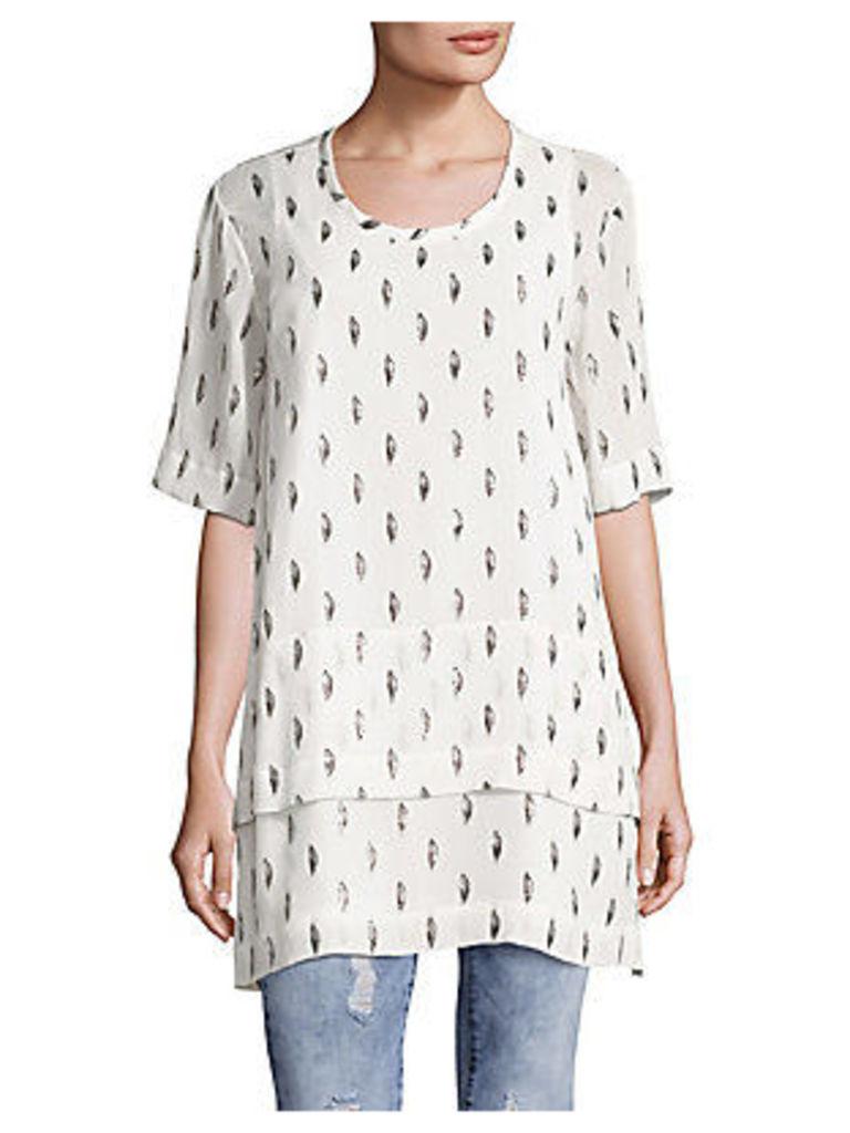 Janet Roundneck Silk-Blend Printed Top