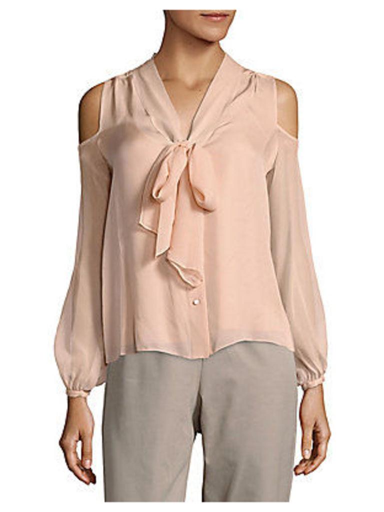 Vida Cold-Shoulder Silk Shirt