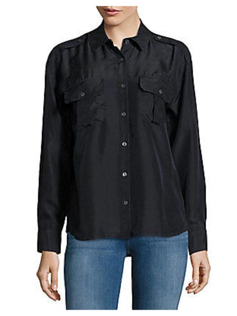 Edie Silk Casual Button-Down Shirt