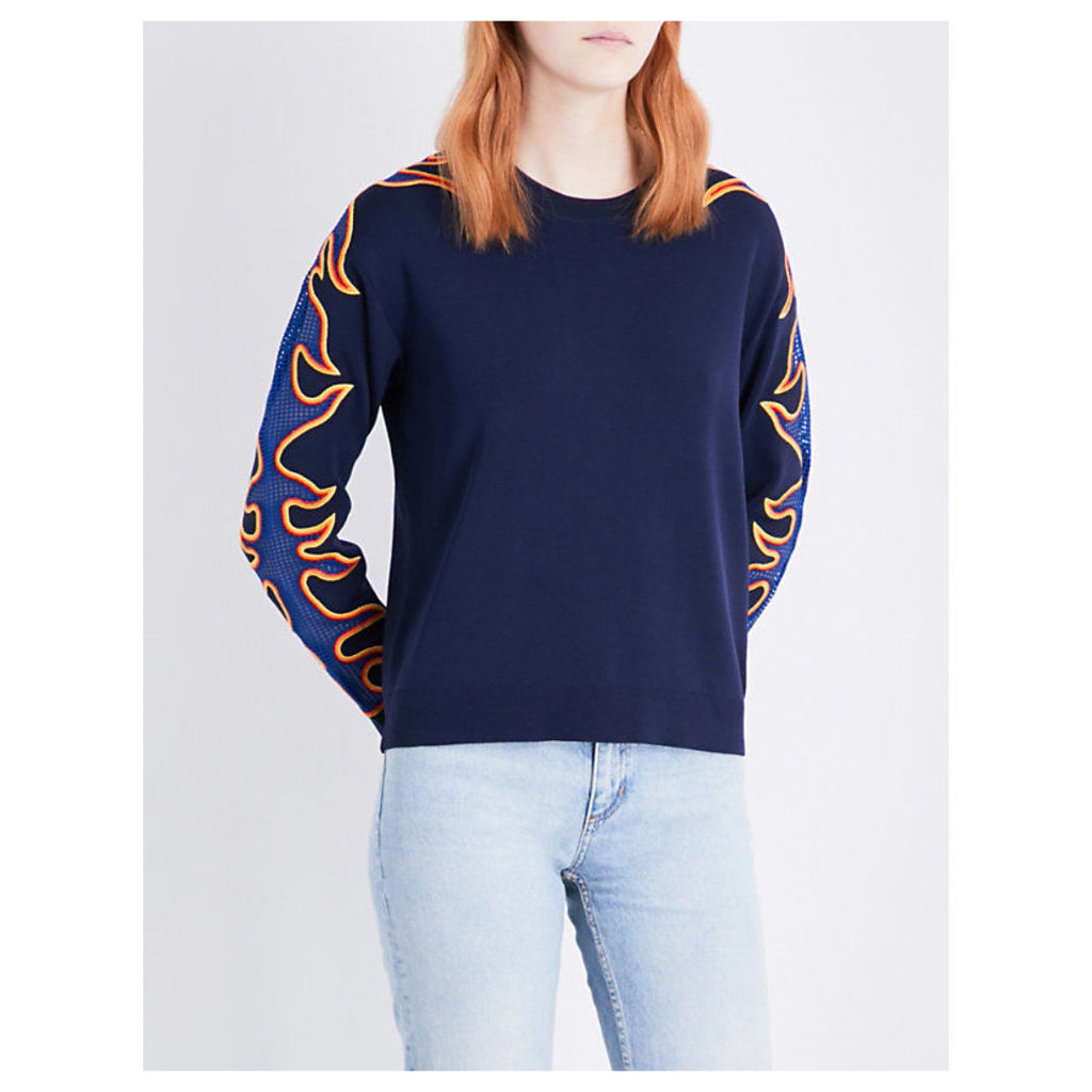 Flame-embroidered knitted sweatshirt