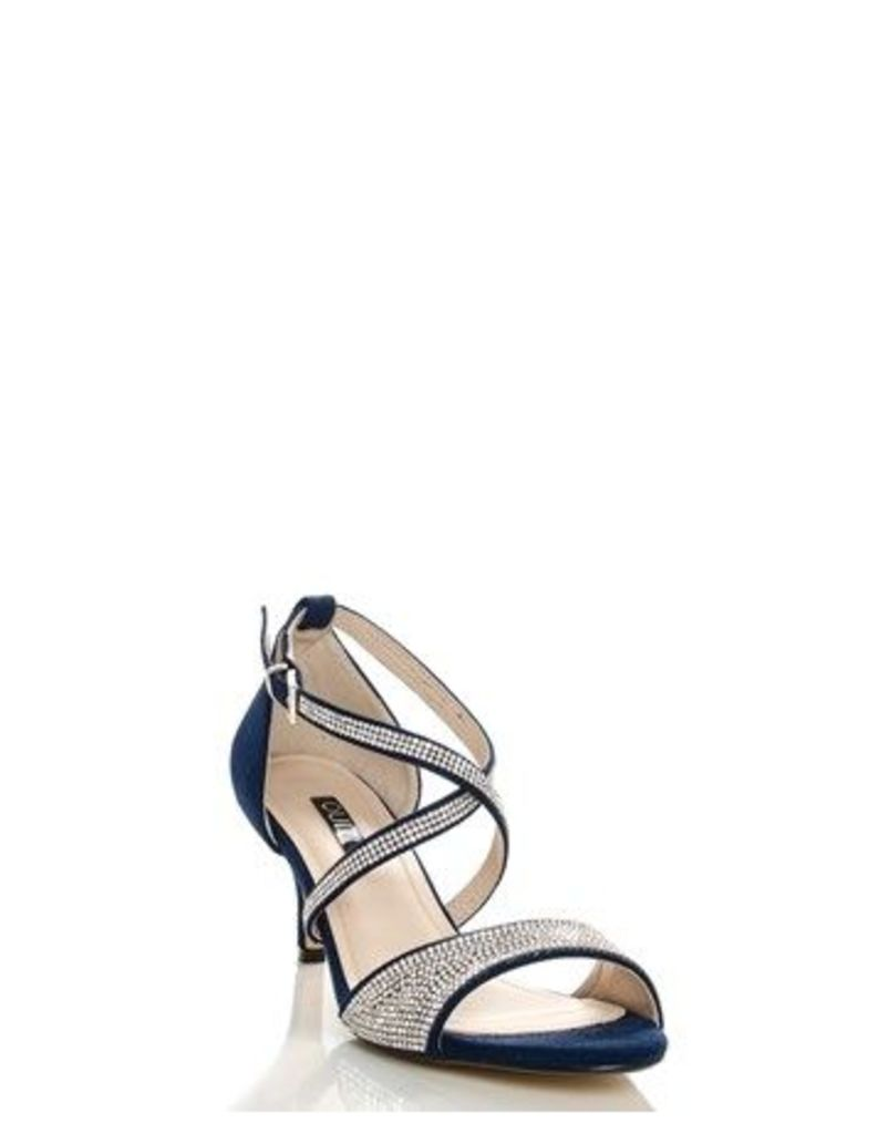 Quiz Suedette Diamante Cross Strap Low Heel Sandal