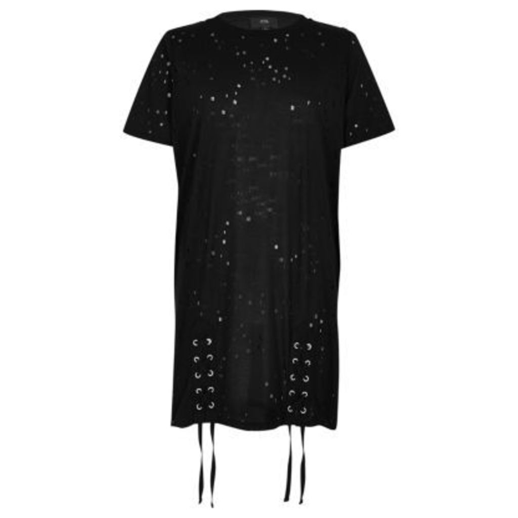 River Island Womens Black distressed lace up oversized T-shirt