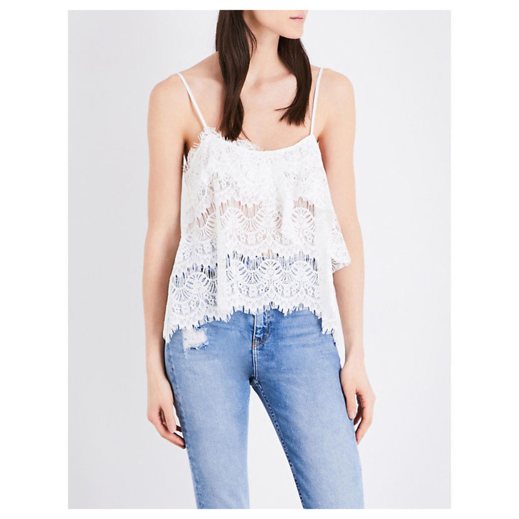 Flared-overlay scalloped lace camisole