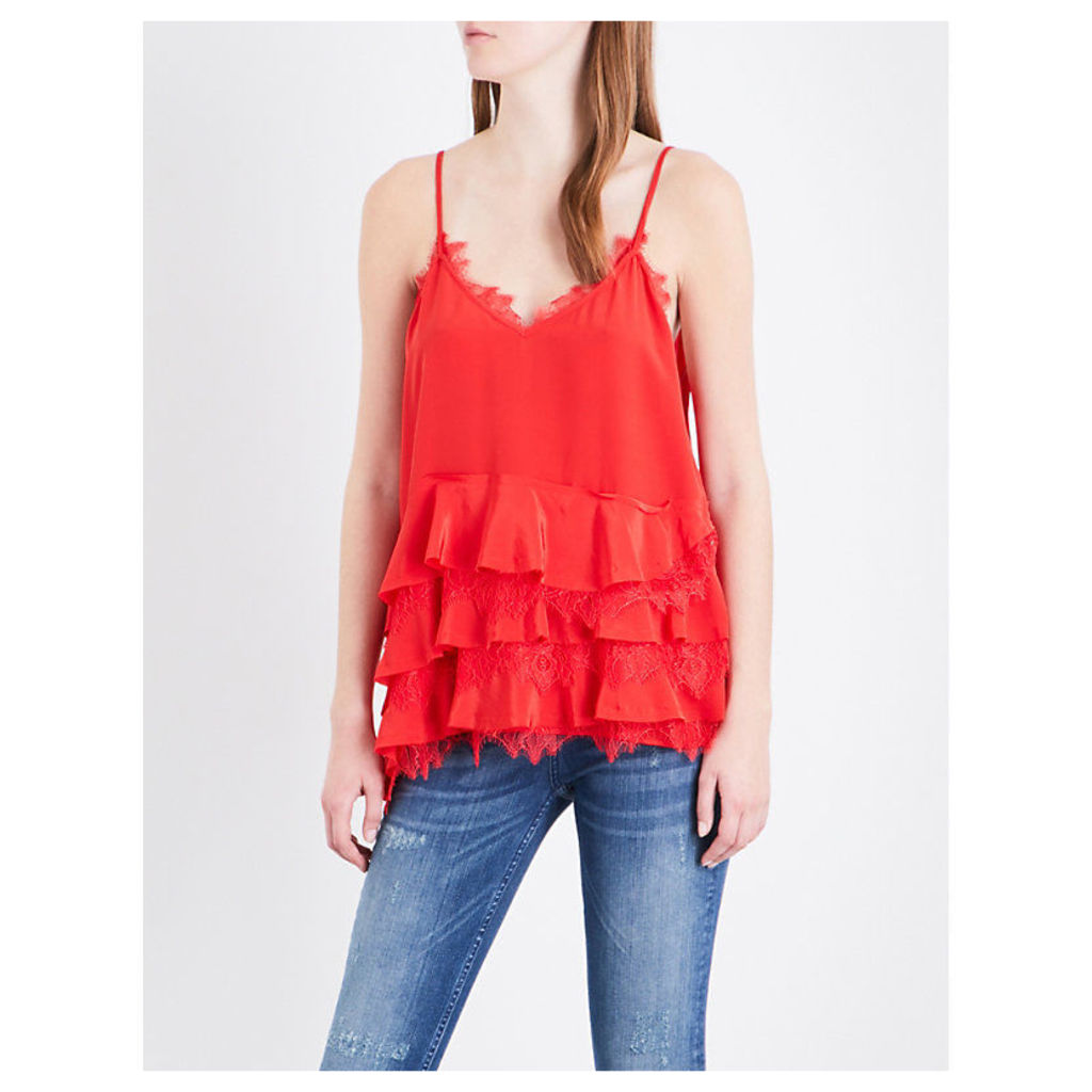 Tiered lace-trimmed silk top